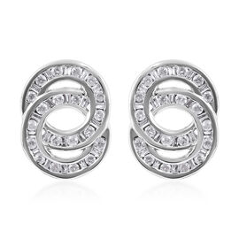 9K White Gold SGL Certified Diamond (Rnd) (I3/G-H) Twin Circle Earrings (with Push Back) 0.500 Ct.