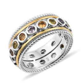 Rainbow Sapphire (Rnd) SPINNER Ring (Size M) in Yellow Gold and Platinum Overlay Sterling Silver 2.500 Ct, Si
