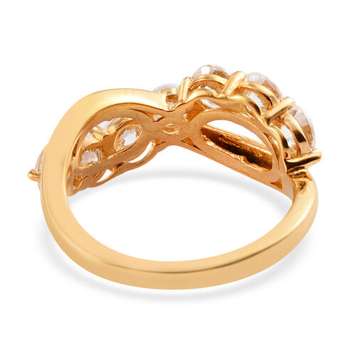 J Francis 14K Gold Overlay Sterling Silver Infinity Ring Made with SWAROVSKI ZIRCONIA 3.10 Ct.
