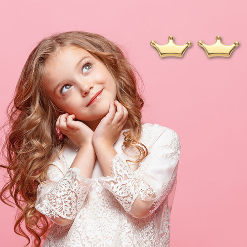 Children Crown Earrings in Gold Plated Silver