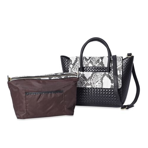100% Genuine Leather Snake Pattern Woven Tote Bag  (Size 26x13x27 Cm) - Black and White
