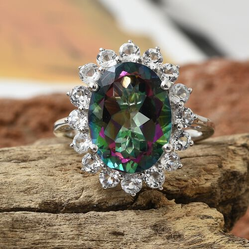 One Time Deal- Northern Lights Mystic Topaz (Ovl 16x12 mm 9.50 Ct), White Topaz Ring in Platinum Overlay Sterling Silver 11.500 Ct.