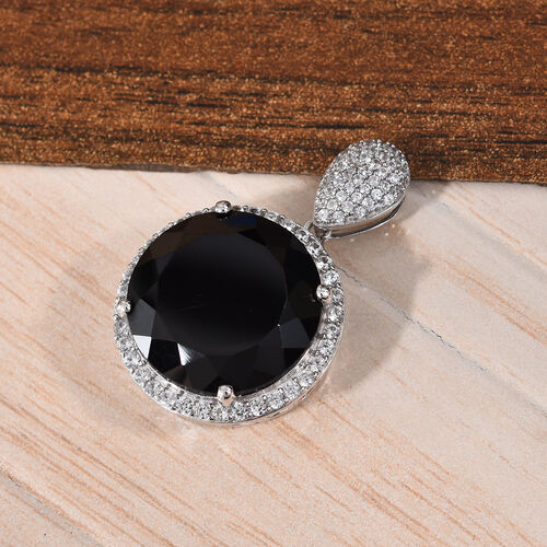 Natural Boi Ploi Black Spinel (Rnd 20 mm), Natural Cambodian Zircon Solitaire Pendant in Platinum Overlay Sterling Silver 40.75 Ct.