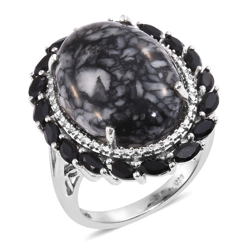 Austrian Pinolith (Ovl 16.60 Ct), Boi Ploi Black Spinel Ring in Platinum Overlay Sterling Silver 18.500 Ct.