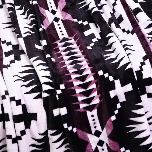 Serenity Night - Santa Fe Collection - Flannel Sherpa Blanket (200x150cm) - Light Purple