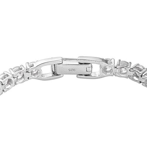 J Francis Platinum Over Sterling Silver Tennis Bracelet (Size 7.5) Made with SWAROVSKI ZIRCONIA 10.00 Ct, Silver wt. 10.53 Gms