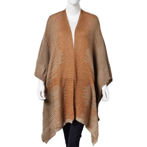 Designer Inspired Sparkle Coffee and Grey Colour Knitted Kimono (Size 115X60 Cm)