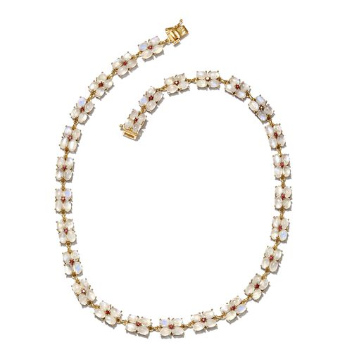 Exclusive Edition-Sri Lankan Rainbow Moonstone (Ovl), African Ruby Necklace (Size 18) in 14K Gold Ov