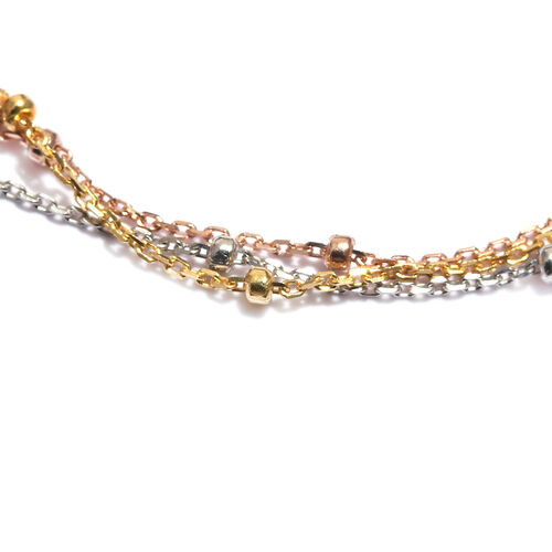 Platinum, Yellow and Rose Gold Overlay Sterling Silver Adjustable Bracelet (Size 6.5 - 8.5), Silver wt 2.12 Gms.