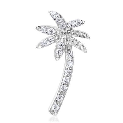 ELANZA Simulated Diamond (Rnd) Coconut Tree Pendant in Rhodium Overlay Sterling Silver