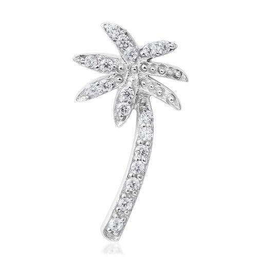 ELANZA Simulated Diamond (Rnd) Coconut Tree Pendant in Rhodium Overlay Sterling Silver