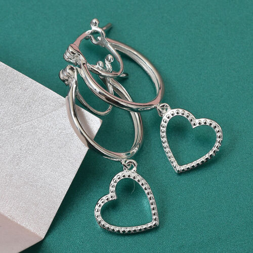 Sterling Silver Dangling Heart Earrings