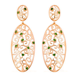 LucyQ Victorian Era Collcetion - Russian Diopside Filigree Earrings (with Push Back) in Rose Gold Ov