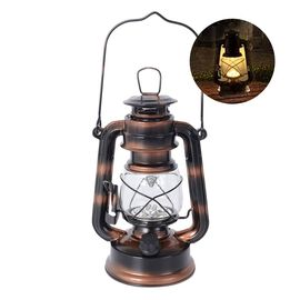 Bronze - Vintage LED Hurricane Lantern with Dimmer Switch (Size 19 Cm) (4xAA  Battery not Included)