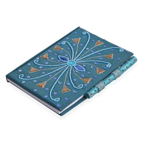 Hand Crafted Embellished Zari Work Dusky Blue and Brown Notebook with Pen Set (Size 17.78X12.70 Cm)