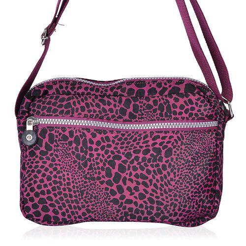 Designer Inspired - Dark Fuchsia and Black Colour Leopard Pattern Multi Pocket Waterproof Sport Bag with Adjustable Shoulder Strap (Size 22.5X17.5X6 Cm)