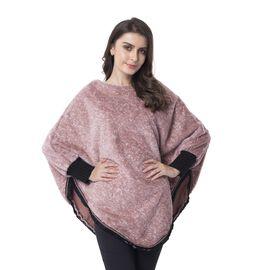 Mellow Rose Colour Faux Fur Poncho (Size 82x75 Cm)