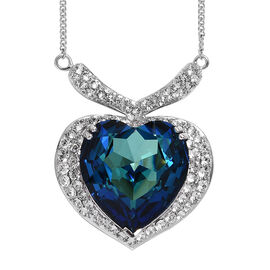 J Francis Crystal from Swarovski Bermuda Blue Crystal and White Crystal Heart Necklace in Platinum P