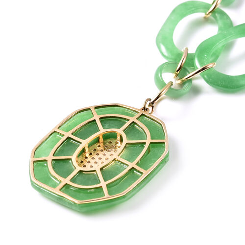 Green Jade and Natural Cambodian Zircon Necklace (Size 20)  in Yellow Gold Overlay Sterling Silver 87.00 Ct, Silver Wt. 13.05 Gms