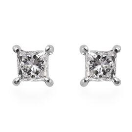RHAPSODY 950 Platinum Diamond (Sqr) Stud Earrings (with Screw Back) 0.53 Ct.