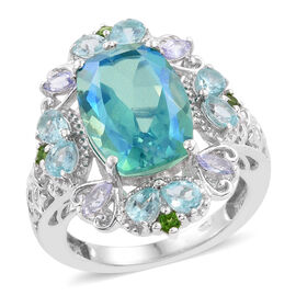 Peacock Quartz (Cush 6.75 Ct), Paraiba Apatite, Tanzanite and Russian Diopside Ring in Platinum Overlay Sterling Silver 8.500 Ct.