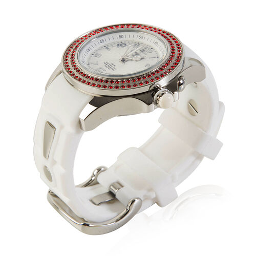 KYBOE Radiant Collection Japanese Movement 100M Water Resistant Spirit LED Watch in Stainless Steel with Swarovski Crystals Red and White Strap