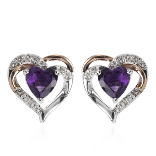 Amethyst (Hrt), White Topaz Earrings (with Push Back) in 9k Rose Gold and 925 Sterling Silver
