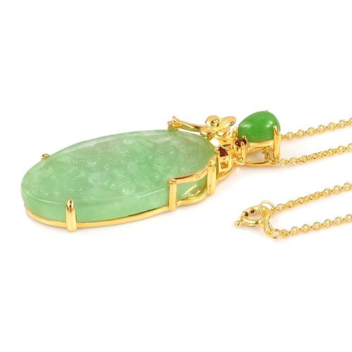 Hand Carved Green Jade and Mozambique Garnet Pendant with Chain in Yellow Gold Overlay Sterling Silver 29.080 Ct.
