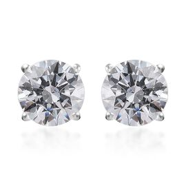 J Francis Made with SWAROVSKI ZIRCONIA Solitaire Stud Earrings in Silver