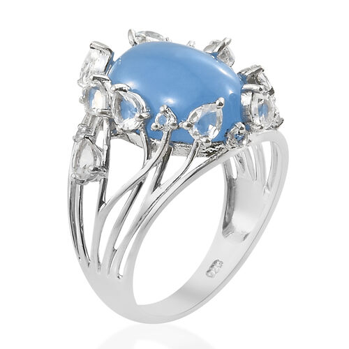 Blue Jade (Ovl 11.00 Ct), White Topaz Ring in Platinum Overlay Sterling Silver 13.000 Ct. Silver wt 4.32 Gms.