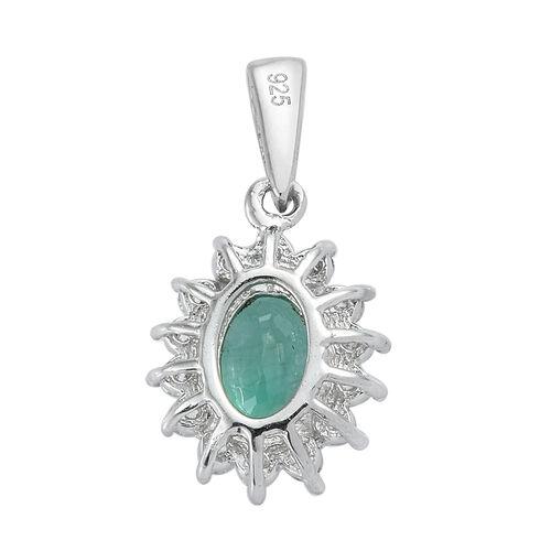 Brazilian Premium Emerald and Natural Cambodian Zircon Pendant in Platinum Overlay Sterling Silver 1.025 Ct.