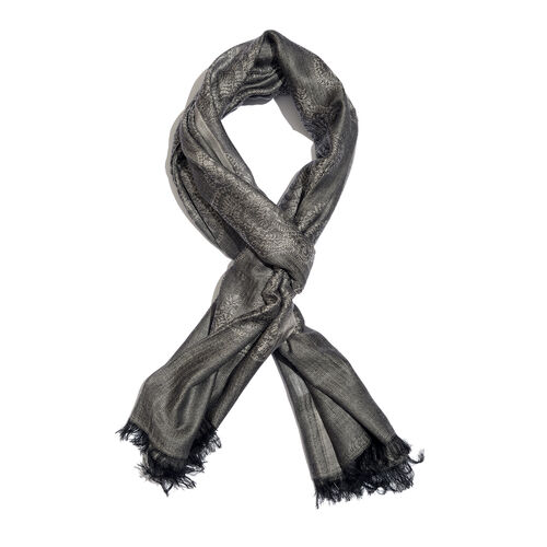 Damask Pattern Black Colour Jacquard Scarf with Tassels (Size 180x70 Cm)