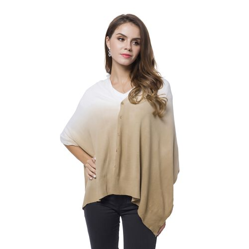 Italian Designer Inspired - Khaki and White Colour Buttons Embellished Shawl (Size 156X50 Cm)