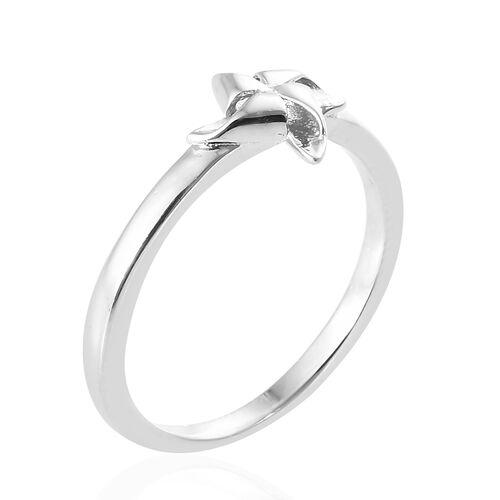 Platinum Overlay Sterling Silver Pinwheel Ring