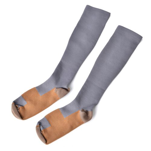Anti Fatigue Compression Copper Infused Socks with Elbow and Knee Protect Sleeves - Grey (Large)