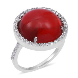 ELANZA Simulated Coral and Simulated Diamond Halo Ring in Rhodium Plated Sterling Silver