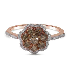 9K Rose Gold SGL Certified Natural Champagne Diamond (I3) and White Diamond (I3/G-H) Floral Ring 1.0