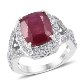 7.9 Ct African Ruby and Cambodian Zircon Halo Ring in Sterling Silver 4.75 Grams