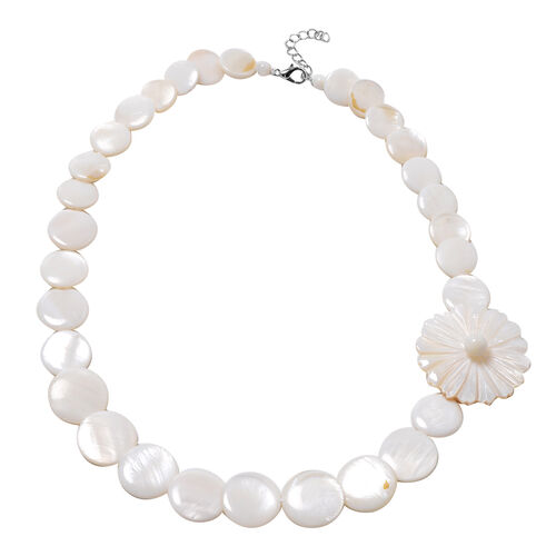 Natural Colour and White Shell Necklace (Size 20 with 1 inch Extender)