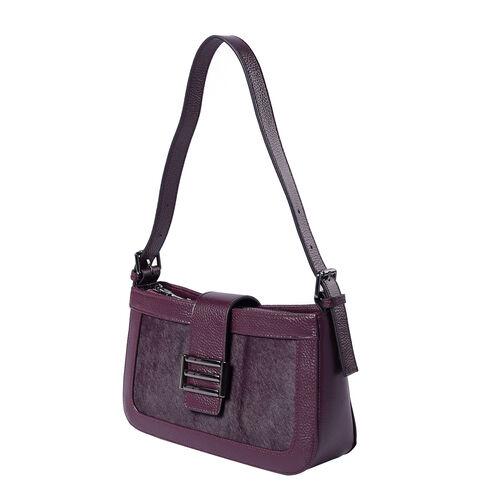 100% Genuine Leather Hobo Bag (26x7x15cm) with Clasp Closure - Plum Colour