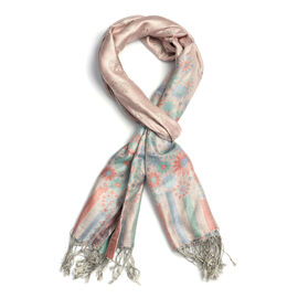 SILK MARK - 100% Superfine Silk Light Pink Colour Jacquard Jamawar Scarf with Fringes (Size 180x70 C