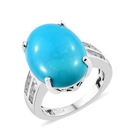 Limited Available- Arizona Sleeping Beauty Turquoise (Ovl 18x13mm, 9.20 Ct), Natural Cambodian Zircon Ring in Platinum Overlay Sterling Silver 10.50 Ct.