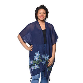 Navy Open Front Embroidered Floral Kimono (Size 88x93cm)