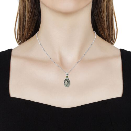 Green Amethyst (Ovl 11.50 Ct), Russian Diopside, Natural White Cambodian Zircon Pendant with Chain in Rhodium Overlay Sterling Silver 11.850 Ct.