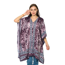 Purple and Multi Colour Digital Leopard Printed Kaftan One Size (90x75 Cm)