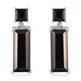 GP 11.81 Ct Elite Shungite and Multi Gemstone Dangle Earrings in Platinum Plated Silver
