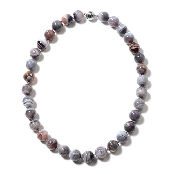 628 Carat Botswana Agate Beaded Necklace in Rhodium Plated Sterling Silver 20 Inch