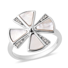 Isabella Liu Dance of Ginkgo - White Mother of Pearl and Natural Cambodian Zircon Ring in Rhodium Ov
