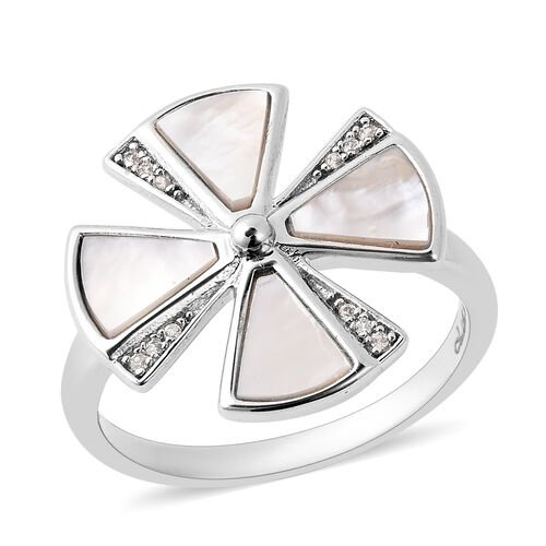 Isabella Liu Ginkgo Collection - White Mother of Pearl and Natural Cambodian Zircon Ring in Rhodium