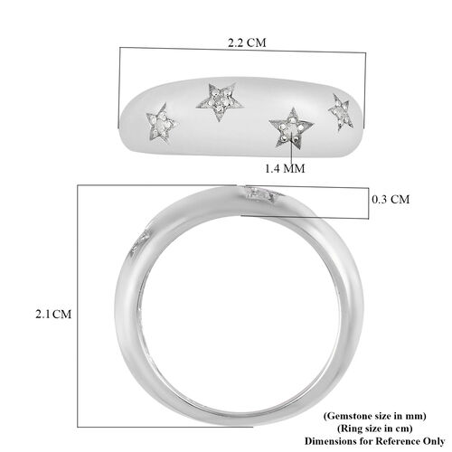 White Diamond Ring in Platinum Overlay Sterling Silver 0.05 Ct.